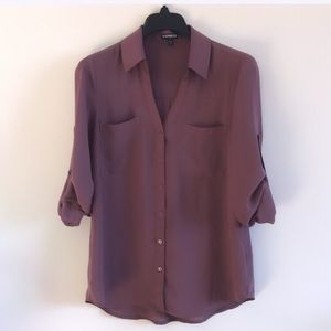Express Purple Collared Blouse